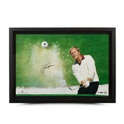 Jack Nicklaus Signed Autographed Breaking Through Photo Sand Trap /25 Uda
