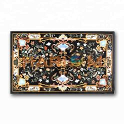 4and039x3and039 Multi Stone Floral And Birds Inlay Marble Top Dining Table Decorative B374b
