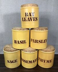 Vtg Lot Of Kiln Craft Butter Yellow Spice Jars Canisters W/ Corks - England