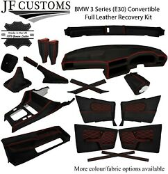 Red Stitch Leather Covers For Bmw 3 Series E30 Convertible Full Interior Kit