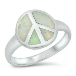 Peace Sign Ring Genuine Sterling Silver 925 White Opal Face Height 12 Mm Size 10