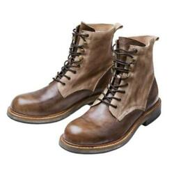 Mens Motorcycle Cowboy Western New Retro Real Leather Biker Ankle Boots Shoes L