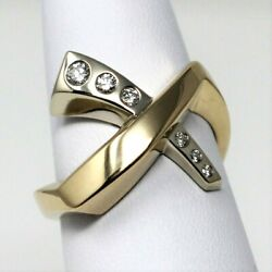 14 Kt Yellow Y White Gold Stylized X Diamond Crossover Ring Size 7 B0202