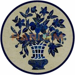 36 Marble Round Dining Table Top Lapis Floral Inlay Work Interior Decors B397a