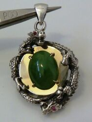 Antique Estate 14k Gold Sterling Silver Chinese Jade Dragon W/ Ruby Eyes Pendant
