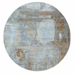 8and039x8and039 Abstract Design Wool And Silk Denser Weave Hand Knotted Round Rug R59321