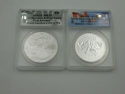 2010 Us Silver Eagle And Canada Silver Olympics 2 Coin Set Anacs Graded Ms70