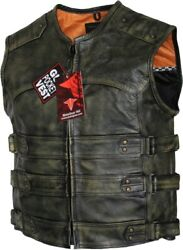Men#x27;s Tactical Style Side Buckle Motorcycle Leather Vest Concealed Carry $49.99