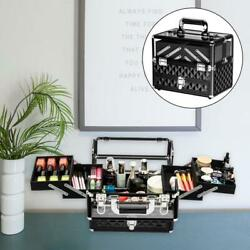 Foldable Aluminum Acrylic Makeup Train Case Jewelry Organizer Storage Lockable