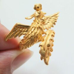 Pure 24k Yellow Gold Ring For Women 3d Hard Gold Big Phoenix Luxury Ring Gift