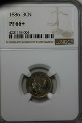 1886 3cn Ngc Pf 66+ Old Nickel Collector Coin Liberty Three Cent Piece