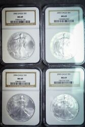 2002 - 2005 Ms69 Us .999 Silver Eagle One Dollar Coin S1 Us Four Coin Lot Ngc
