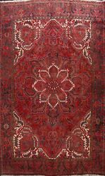 Vintage Geometric Traditional Red Heriz Area Rug Hand-knotted Large Carpet 10x12
