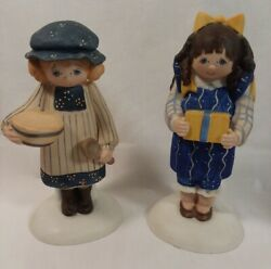 2 County Fair Collection 1983 Figurines Polly Dove And Lydia By Enesco