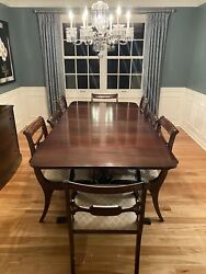 Duncan Phyfe Drop Leaf Dining Table Chairs And Buffet