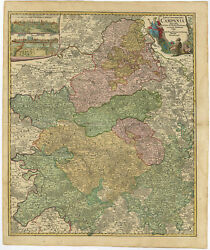 Antique Map-france-champagne-reims-troyes-epernay-homann Heirs-c. 1759