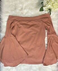 Express Bell Sleeve Off the Shoulder Women#x27;s Top Dusty Pink Size Large $24.99