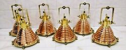 Nautical Vintage Style Cargo Pendent Spot Copper And Brass Ceiling New Light 6 Pcs
