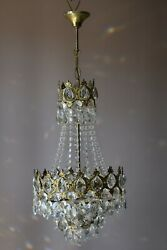 Antique French Empire Vintage Crystal Chandelier Home 1950s Retro Lighting Lamp