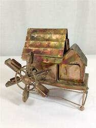 Vintage Tin Copper Wind Up Music Box Farm House Happy Days Chinese Craftsmen