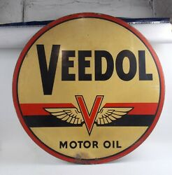 1950and039s Veedol Motor Oil Vintage Sign Metal 2 Faces 40 Gas Station Stout Sign Co