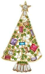 Napier Jeweled Christmas Tree Multi Color Brooch Pin Gold Tone New W Gift Box