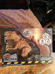 Walking Dinosaur Brown T Rex with Realistic Sounds Wired Fossil Remote Control $8.00