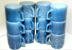 Vintage Anchor Hocking Fire King Blue Speckled Mugs Lot Of 12 With Box