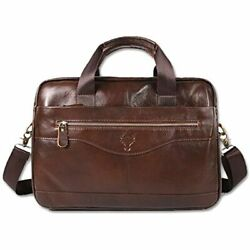 Menamp;39s Leather Briefcase 14 Inch Laptop Bag Messenger For Men Brown Shoes $49.98