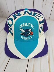 Vintage Charlotte Hornets Twins Nba Color Block Wave Spell Out Snap Back Hat 90s