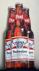 Budweiser Beer Used 30 X 13 1/4 Tin Beer Sign .. Tall 3 Bud Bottles
