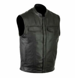 Men Club Style Motorcycle Leather Club Vest Solid Black Concealed Carry Pockets $37.99