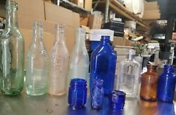 Lot Of 11 Vintage Medicine And Soda Bottles Early 1900and039s Clear Brown Blue