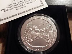 2011 P Chickasaw America The Beautiful 5 Ozt Silver Coin Np10