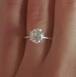 1.5 Ct Classic 6 Prong Round Cut Diamond Engagement Ring Si2 H Certified 18k