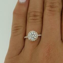 1.65 Ct Pave Halo Round Cut Diamond Engagement Ring Si1 D Rose Gold 18k