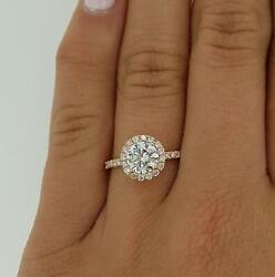 1.9 Ct Pave Halo Round Cut Diamond Engagement Ring Si2 D Rose Gold 14k