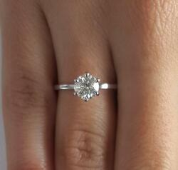1.5 Ct Classic 6 Prong Round Cut Diamond Engagement Ring Si2 D White Gold 14k