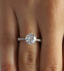 1.7 Ct Pave 6 Prong Round Cut Diamond Engagement Ring Si1 G White Gold 14k