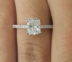 1.5 Ct Double Claw Pave Cushion Cut Diamond Engagement Ring Vs2 F White Gold 18k