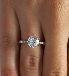 1.95 Ct Pave 6 Prong Round Cut Diamond Engagement Ring Si2 H White Gold 14k