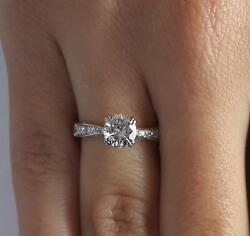 1.5 Ct Pave Double Claw Round Cut Diamond Engagement Ring Vs1 F White Gold 14k