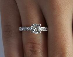 1.5 Ct Classic Pave Round Cut Diamond Engagement Ring Vs2 D White Gold 18k