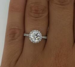 2.1 Ct Pave Halo Round Cut Diamond Engagement Ring Si2 H White Gold 14k