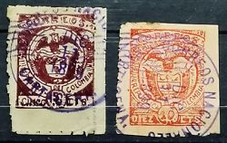 Colombia1899usedrouletted 8-9comlpete Set2cortagena Issue-coat Of Arms.