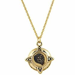 Widows Mite Coin Pendant Necklace Goldtone For Collectors With Yellow 24 Chain -