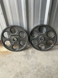 360lbs 8 Vintage Cemco 45lb Cast Iron 6 Shooter Olympic Plates Very Rare