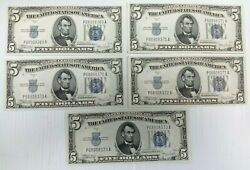 Lot Of 5 1934 C 5 Dollar Silver Certificates Sequential Serial Numbers Unc K243