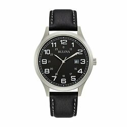 Bulova Menand039s 42mm Black Leather Strap Stainless Steel Watch
