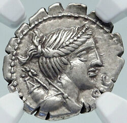 Roman Republic Ancient 79bc Silver Coin Diana And Victory Chariot Ngc I86395